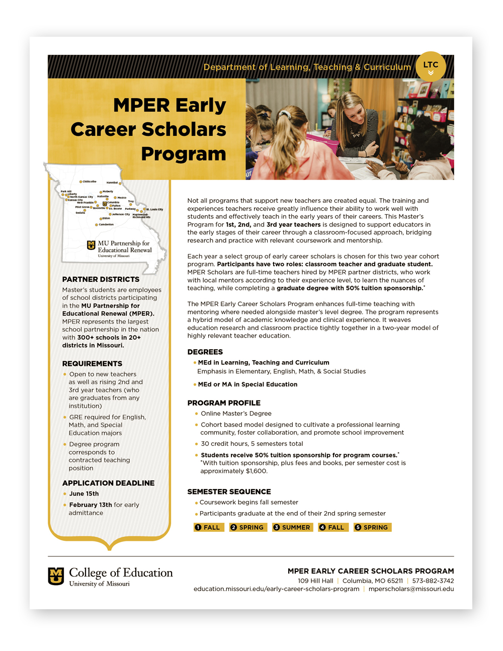 University of Missouri College of Education MPER Early Career Scholars Program, Online Master's for beginning teachers, Info Sheet, 2018