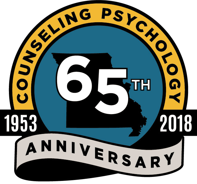 University of Missouri College of Education Educational, School & Counseling Psychology (ESCP), Counseling Psychology Program, 65th Anniversary Logo, 1953-2018, Celebrating 65 years of Continuous APA Accreditation