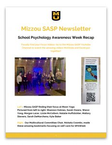 SASP_November_Newsletter, School Psychology Newsletter, University of Missouri College of Education, Department of Educational, School, and Counseling Psychology