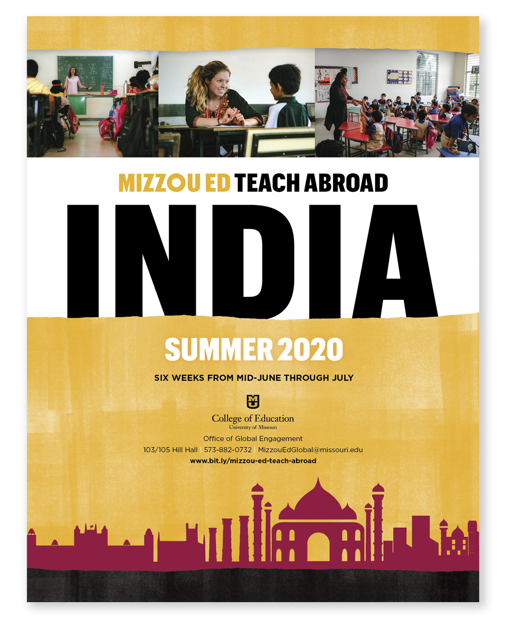Teach Abroad India brochure cover, University of Missouri College of Education, Office of Global Engagement