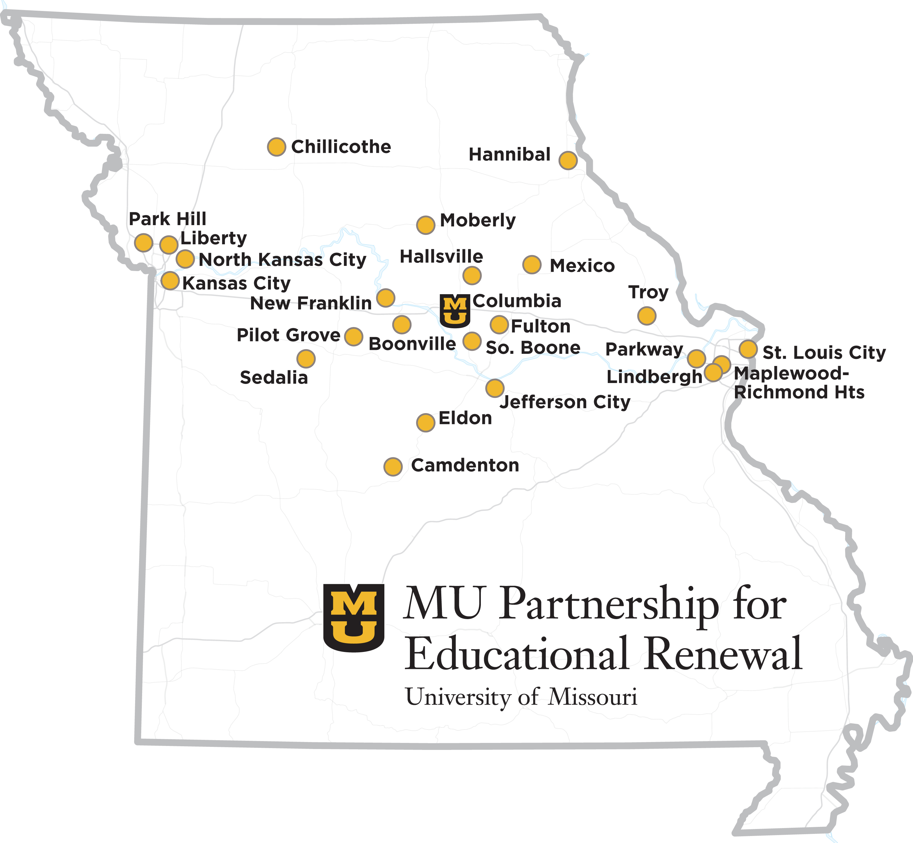 MU Partnership for Educational Renewal, Partner School Districts Map of Missouri with locator dots and MPER logo