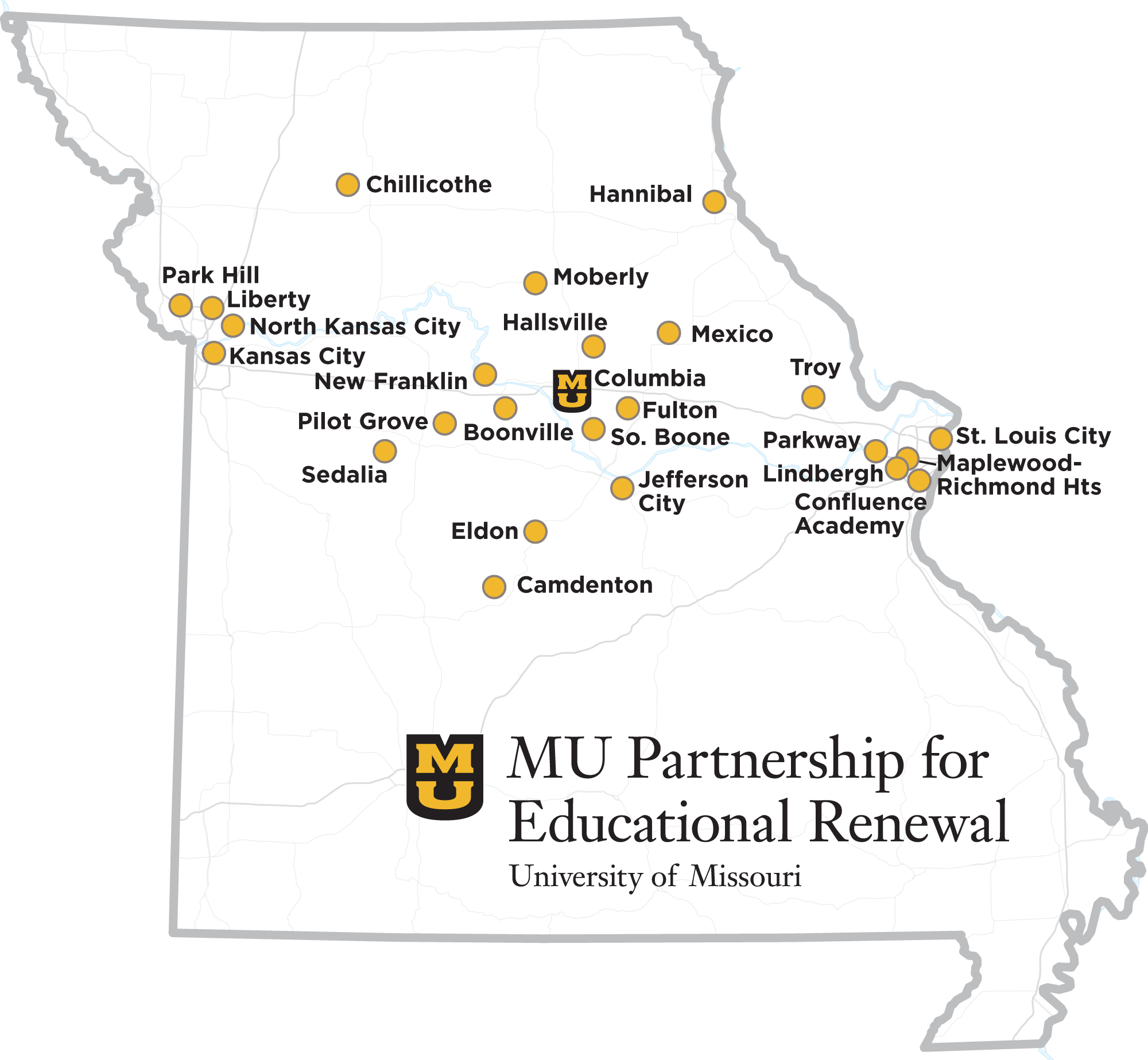 MU Partnership for Educational Renewal Partner Districts map, University of Missouri College of Education