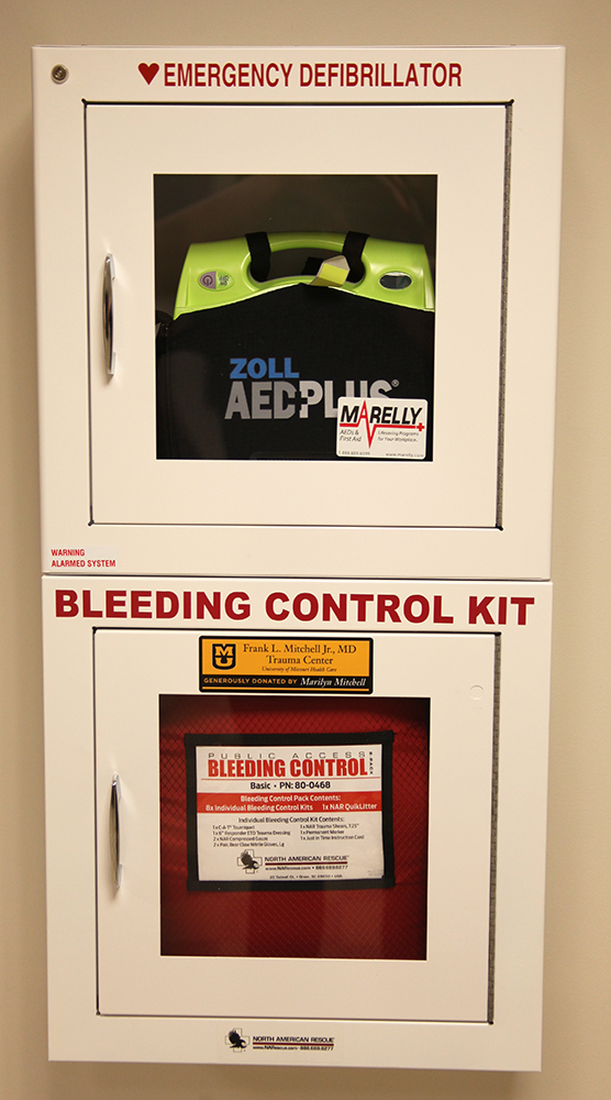 The Emergency Defibrillator and Bleeding Control Kit found on the lower level of Townsend Hall.