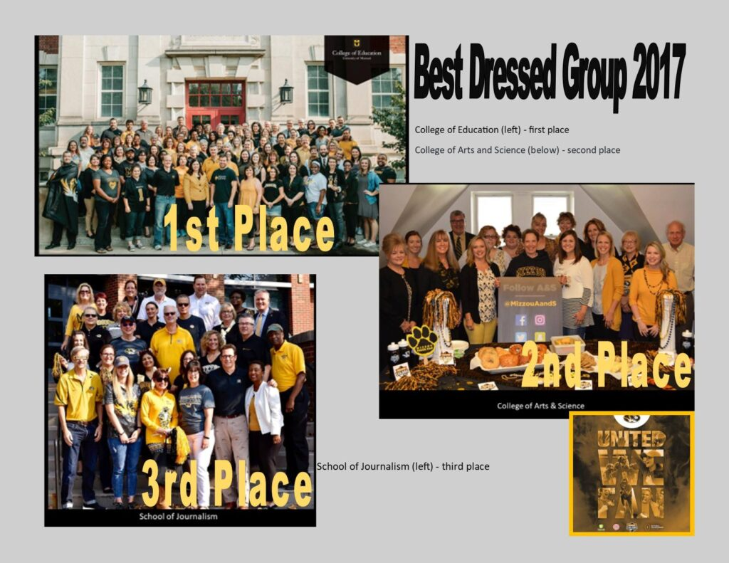 Best Dressed Group 2017, College of Education, 1st place, College of Arts and Science, 2nd place, School of Journalism, 3rd place