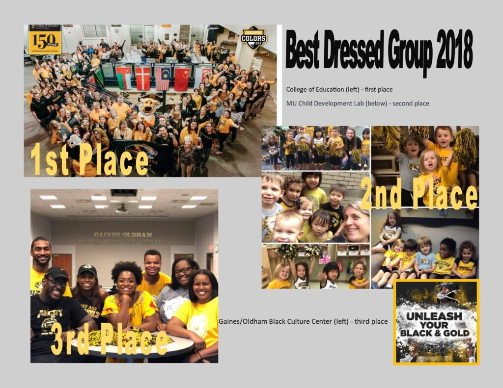 Best Dressed Group 2018, College of Education, 1st place, Child Development Lab, second place, Gaines/Oldham Black Culture Center, 3rd place