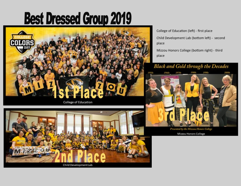Best Dressed Group 2019, College of Education, 1st place, Child Development Lab, 2nd place, Mizzou Honors College, 3rd place