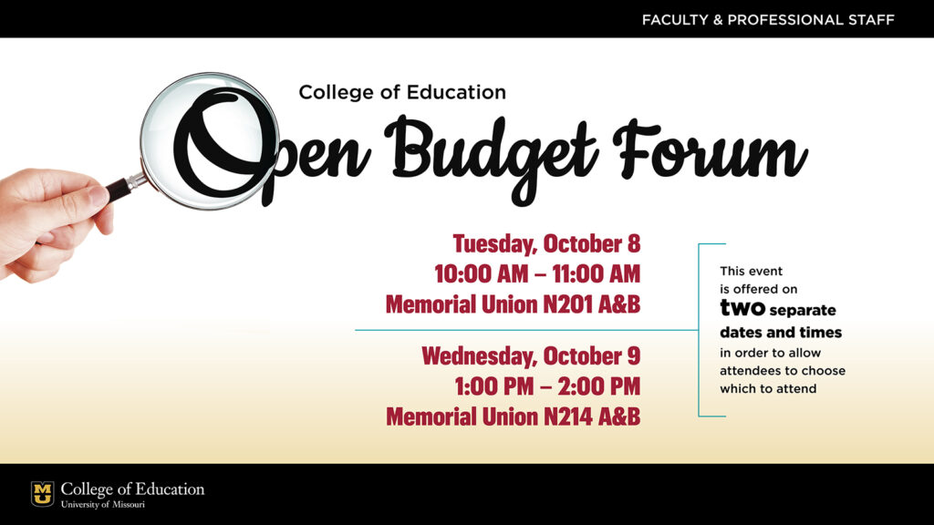 Open Budget Forum dates and times