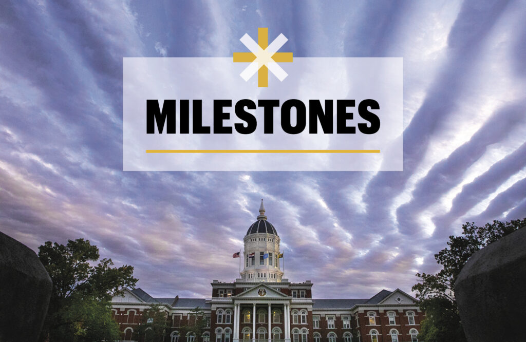 "Image of ""Tiger Stripes"" in the sky above Jesse Hall with the word ""Milestones."""
