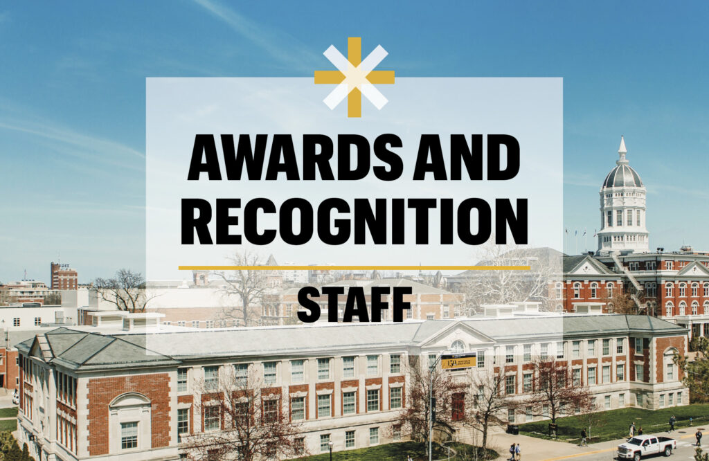 "Arial image of Townsend Hall with the words ""Awards and Recognition- Staff"""