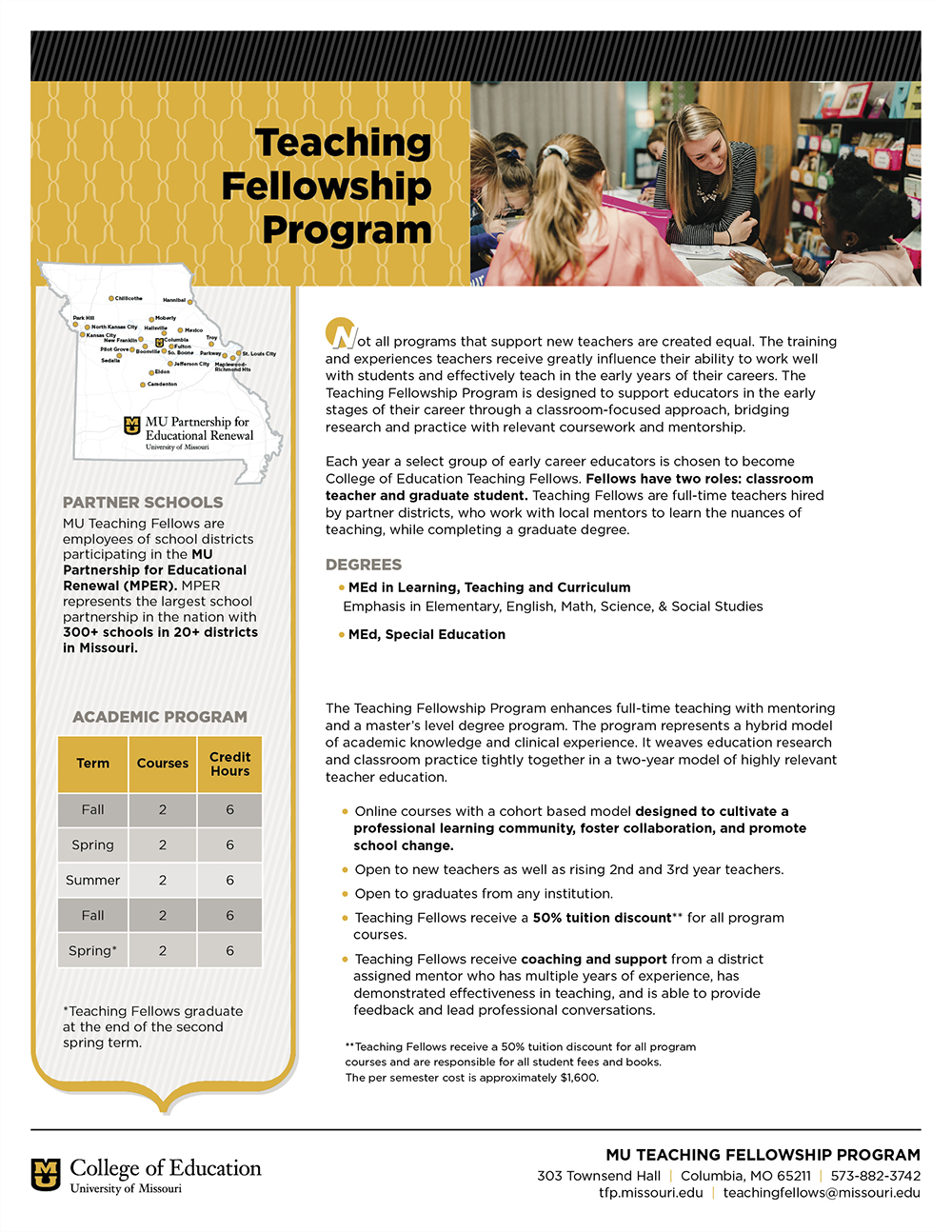 University of Missouri College of Education Teaching Fellowship Program Info Sheet, 2018
