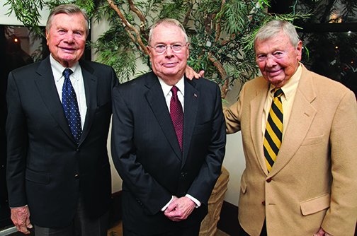 In October 2013, Harold Hook (center) received the Distinguished Service Award from the Mizzou Alumni Association, one of the association's highest honors. Two of his three older brothers were able to attend the ceremony—Oliver (left) and Jim (right). All four brothers attended the University of Missouri.