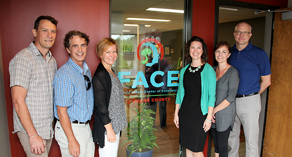 Mizzou faculty members involved with FACE include, left to right, Aaron Thompson, School of Social Work; Keith Herman, ESCP at the College of Education; Kristen Hawley, Psychological Sciences; Kelly Schieltz, ESCP at the College of Education; Wendy Reinke, ESCP at the College of Education; Clark Peters, School of Social Work.