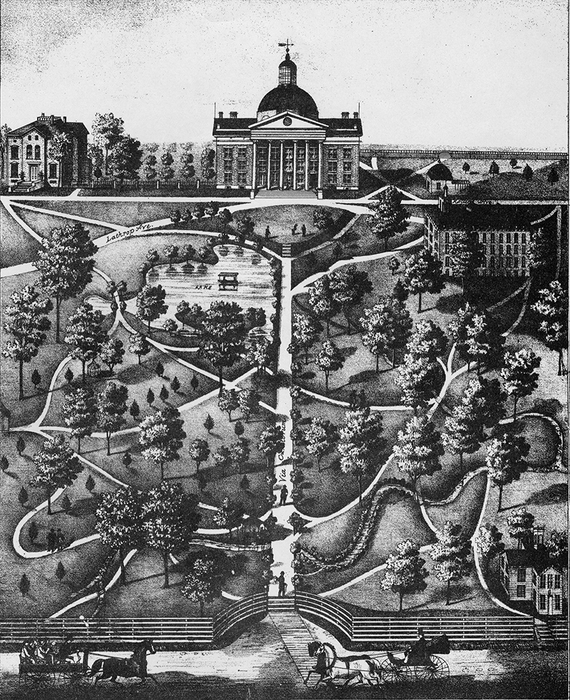 "This 1800s lithograph is one of the earliest images of campus. It is not attributed to an artist but is consistently cited as published in 1875. Of note are the long-vanished ""Chalybeate Spring"" pagoda, bottom center, and Normal [School] Building, lower right. Courtesy University Archives, C:0/47/2."