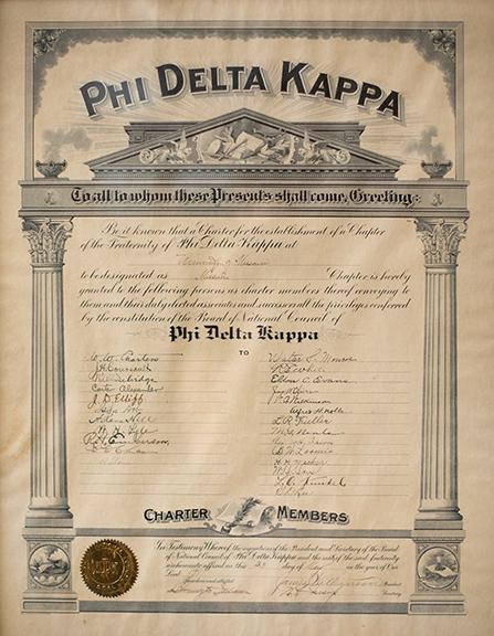 Original Phi Delta Kappa Charter, 1911.