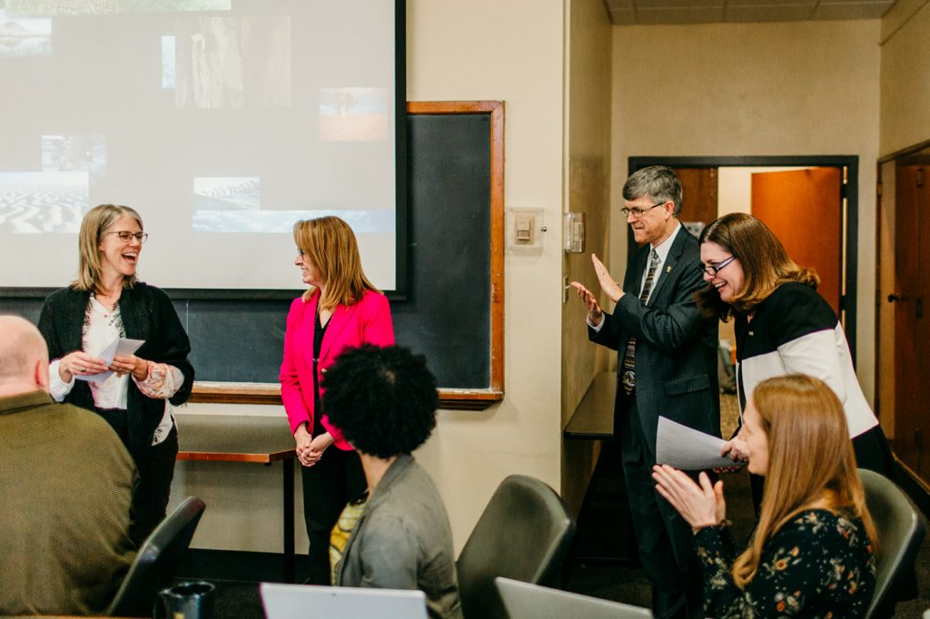 Lisa Dorner was surprised with the UM System President's Award for Intercampus Collaboration.