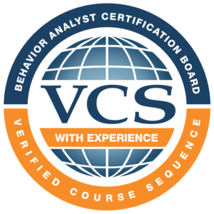 VCS with Experience logo. Behavior analyst certfication board, verified course sequence.