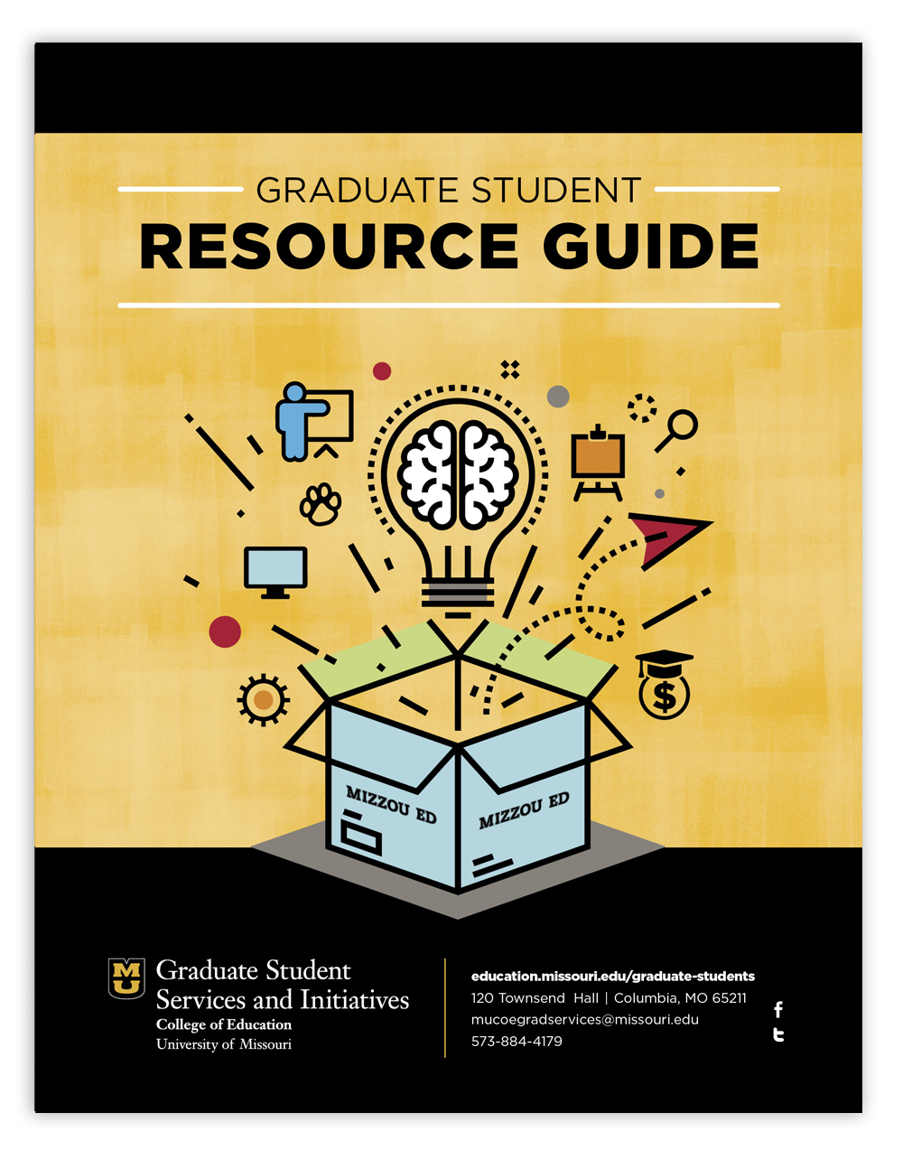 Office of Graduate Student Services & Initiatives Resource Guide front cover, link to pdf booklet, University of Missouri College of Education