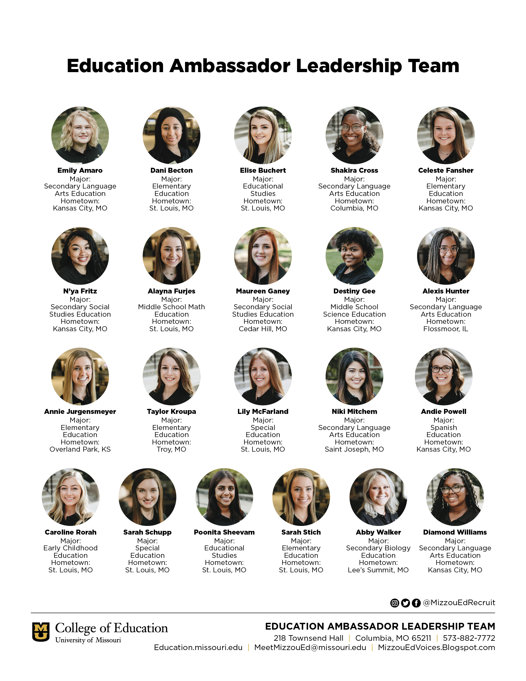College of Education Ambassadors Leadership Team, University of Missouri, jpeg links to pdf file
