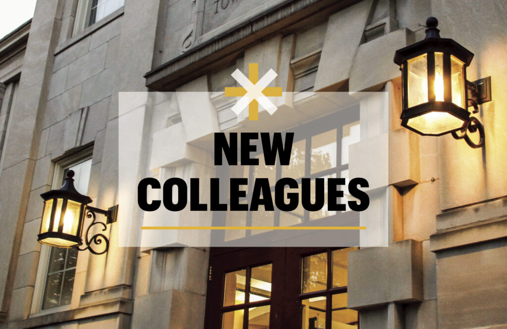 "Image of a Townsend Hall door with the words ""New Colleagues."""