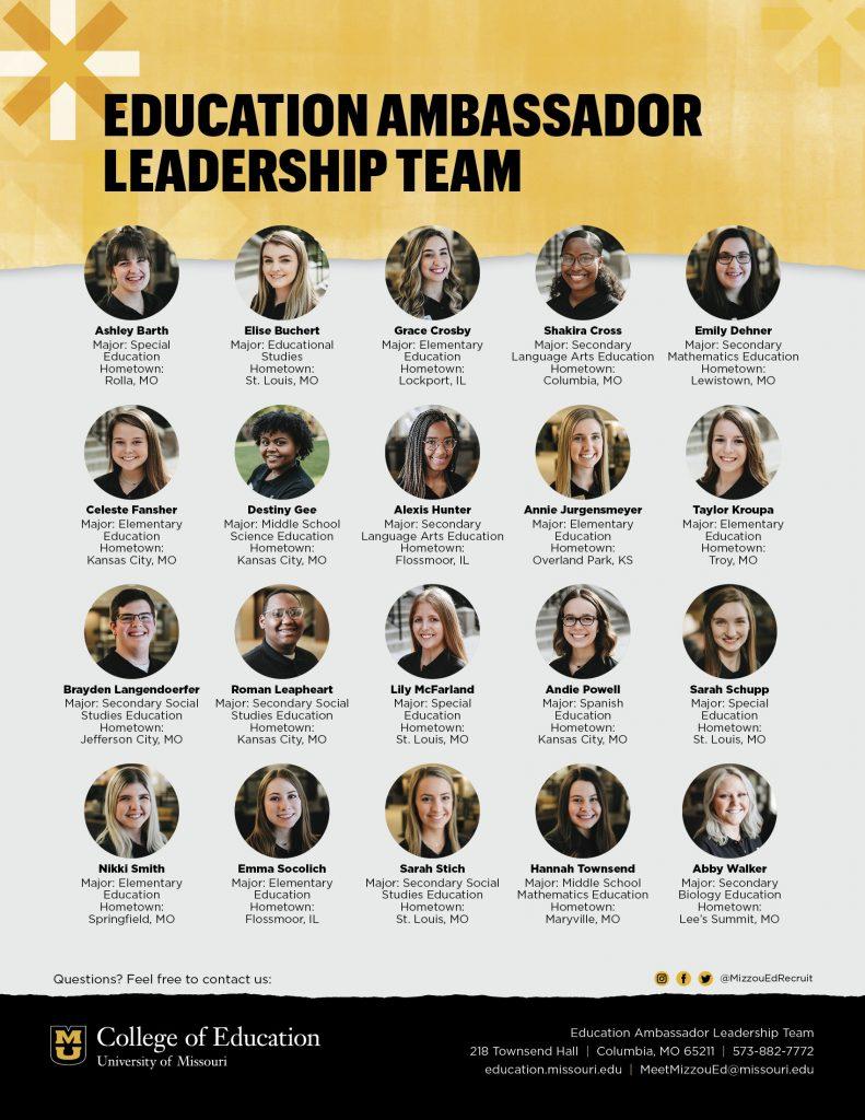 University of Missouri College of Education Ambassadors Leadership Team, jpeg links to pdf file