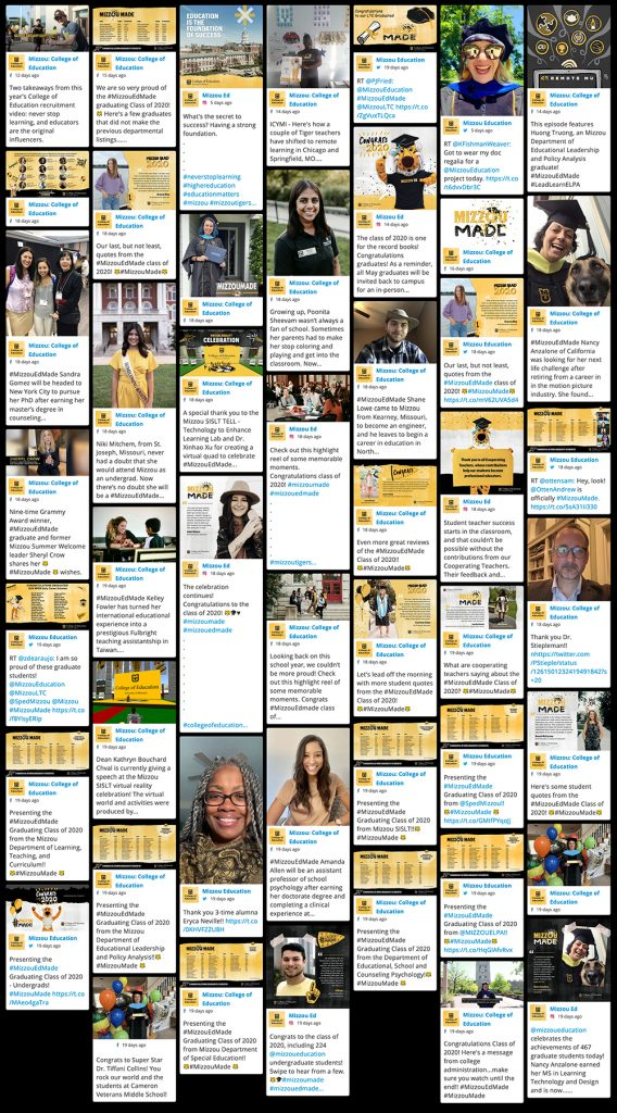 Class of 2020 Virtual Celebration, screenshot of social media posts, University of Missouri College of Education