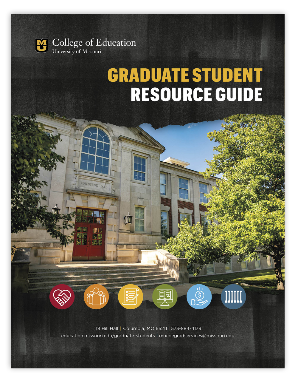 University of Missouri College of Education Graduate Student Resource Guide cover, photo of Townsend Hall, logo, contact info, icons