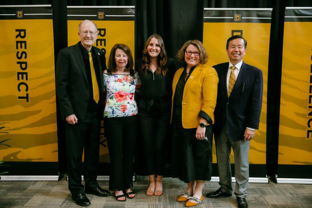 Gary and Patricia Coles, Shelby Johnson, Interim Dean Erica Lembke, and MU President Mun Choi.