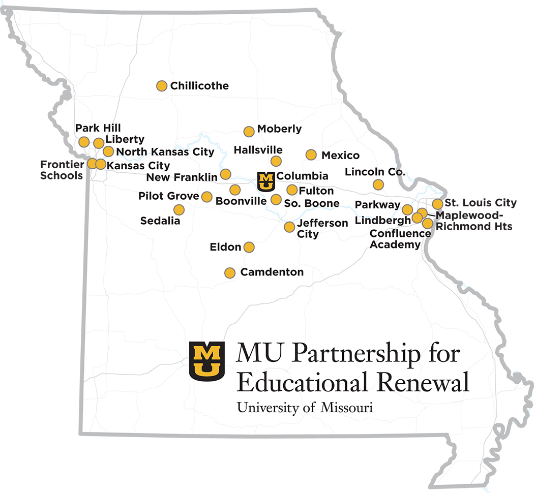 MU Partnership for Educational Renewal Partner Districts map, University of Missouri College of Education