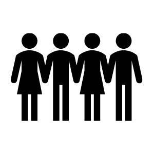 people standing holding hands icon