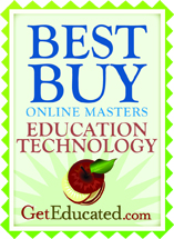 Top 10 online masters EdTech award from geteducated.com
