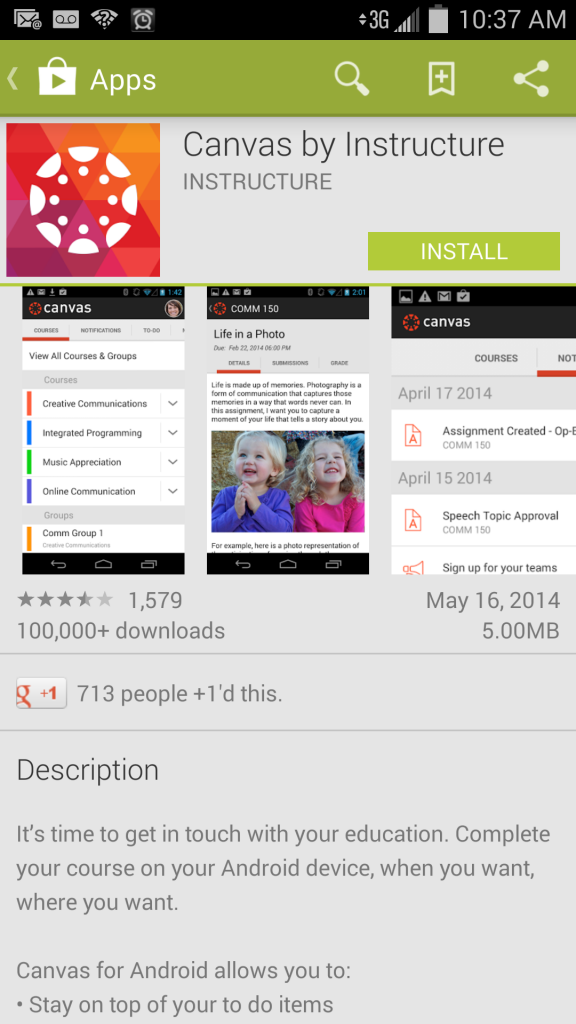 Canvas app selection android screenshot