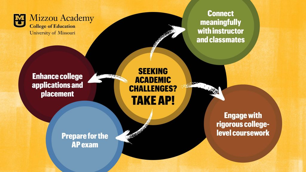 Seeking Academic Challenges? Take AP! Enhance college applications and placement Prepare for the AP exam Connect meaningfully with instructor and classmates Engage with rigorous college-level coursework