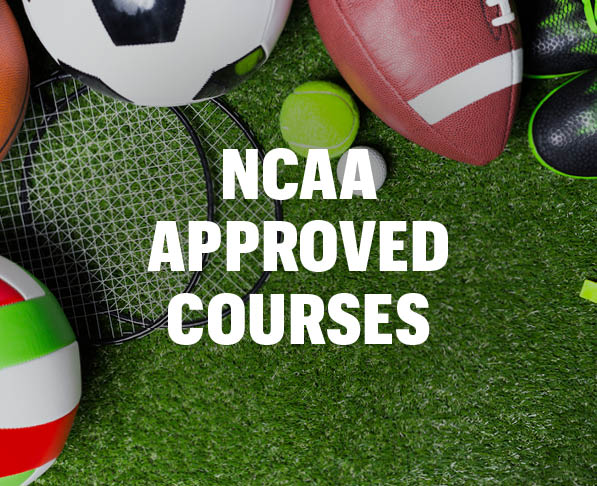 Mizzou Academy NCAA approved courses, astroturf background with various sports balls and equipment
