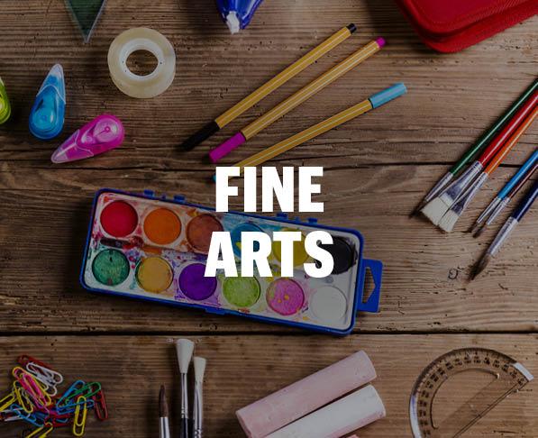 Mizzou Academy Fine Arts Course, photo of wood desk with art supplies