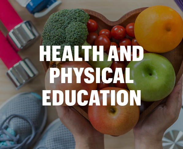 Health and Physical Education Courses, Mizzou Academy, photo of hands holding bowl of fruit and vegetables with tennis shoes and weights in the background