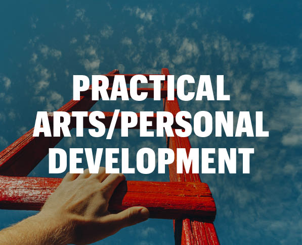 Mizzou Academy Practical Arts/Personal Development Courses, photo of red ladder and blue sky with white male hand on ladder rung
