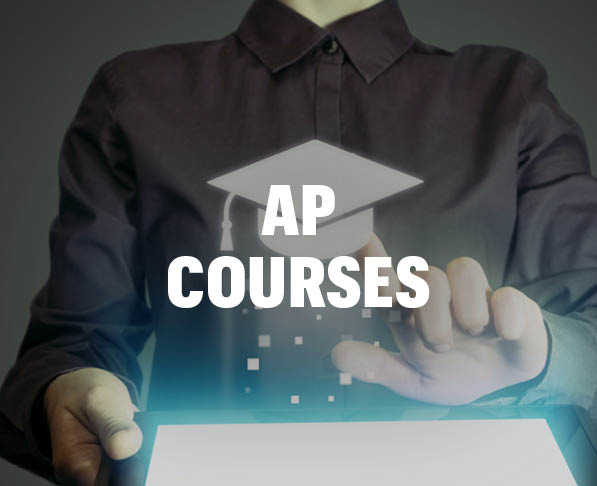 Mizzou Academy AP Courses, photo of woman tapping screen with graduation cap icon and tablet