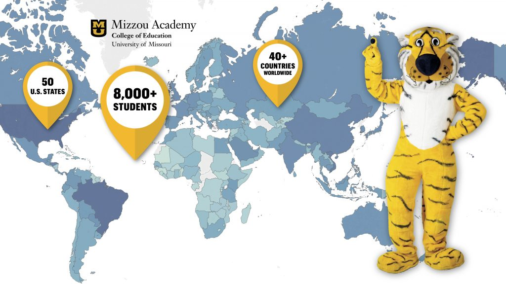 Mizzou Academy Global Impact Map, College of Education, University of Missouri, photo of Truman the Tiger with his hand in the air, pointing, map of world with countries in varying shades of blue, indicating Mizzou Academy students, 50 U.S. States, 8,000+ Students, 40+ Countries worldwide