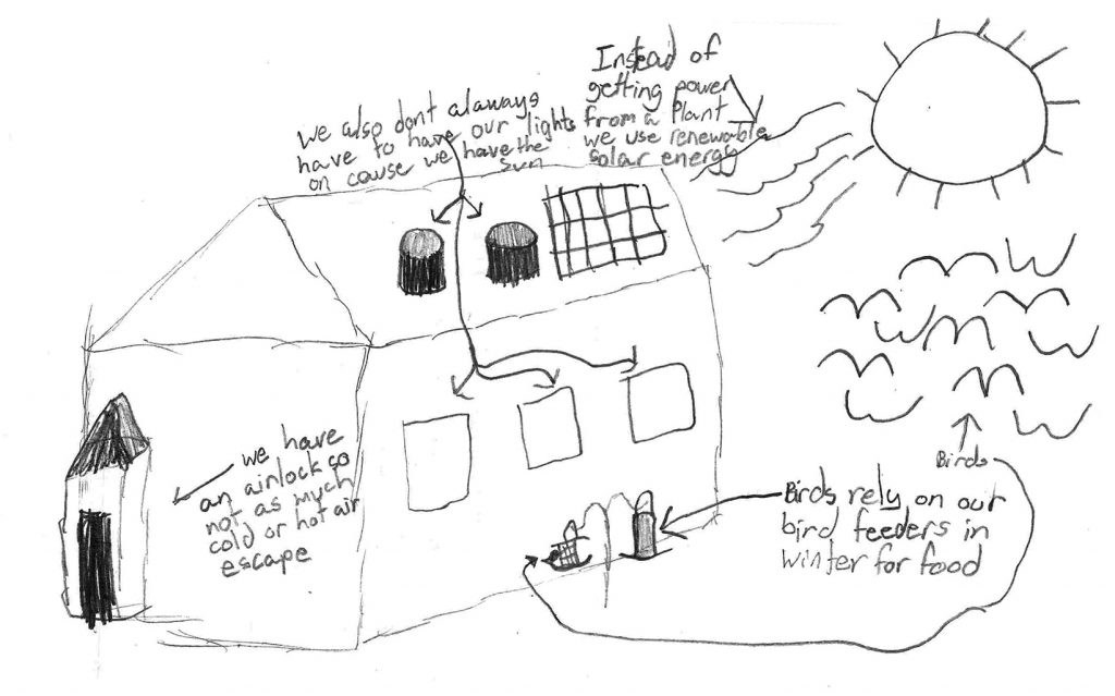 Encore Learning Lab, University of Missouri College of Education, Eco Schoolhouse Student Neil Post-drawing