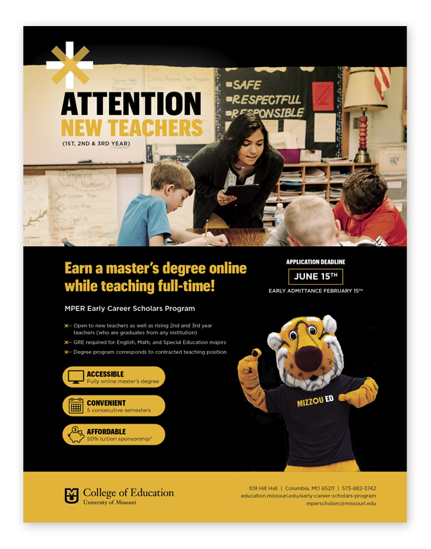 MPER Scholars flyer, MU Partnership for Educational Renewal, University of Missouri College of Education, Master's degree for 1st, 2nd, and 3rd year teachers